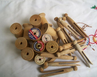 Vintage Thread Spools and Clothespin Set
