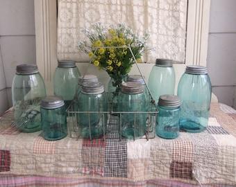 1 Antique Blue Mason Jar Half Gallon Aqua NO LID