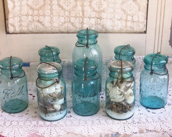 ONE Vintage Blue Mason Jar Quart Ball Ideal with Wire Bail and CLEAR glass Lid