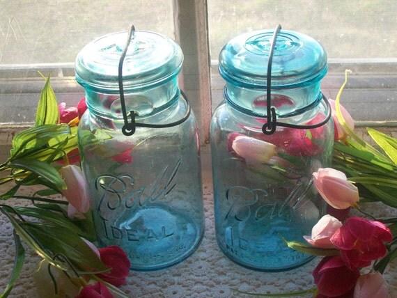 2 Aqua Blue Quart Sized Ball Ideal Jars with Wire Bails and Aqua Glass Lids