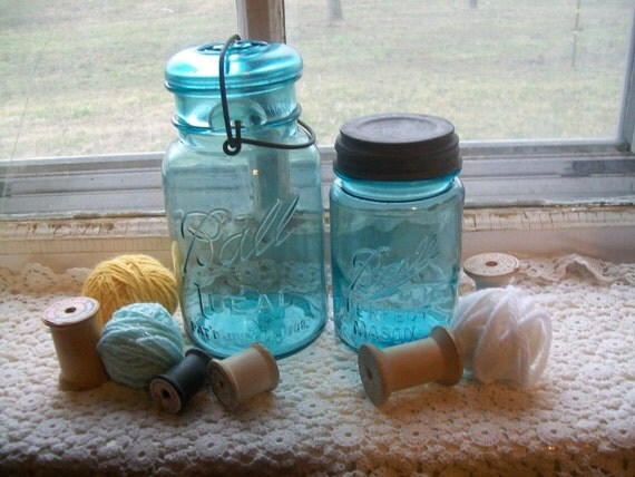 2 Vintage Blue Mason Jars Quart and Pint Sized Lids Included