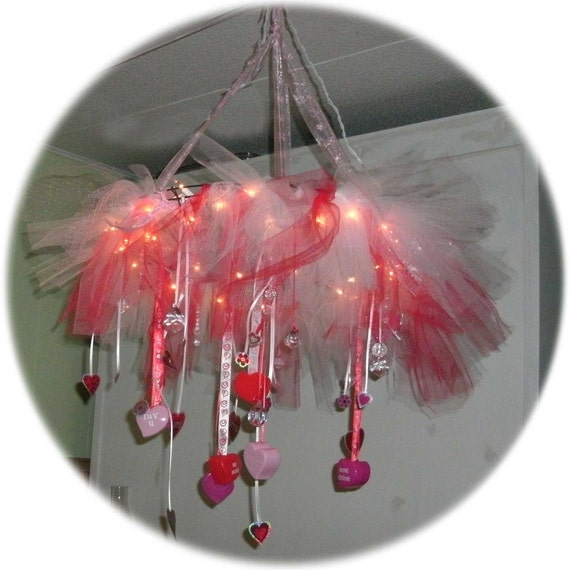 Valentines themed lighted Chandelier ceiling wreath