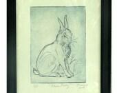 Framed Blue Bunny Original Dry Point Print