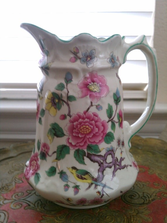 "Vintage Pitcher Staffordshire ""Chinese Rose"" Old Foley Pitcher ""SALE PRICE"""