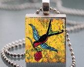 Scrabble Tile Pendant Necklace - Colorful Sparrow Carries the Rose on Gold Altered Art