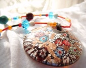 Glass Colorful pendant on vibrant beaded string  Necklace COLOR BURST on the CoLoR WheeL