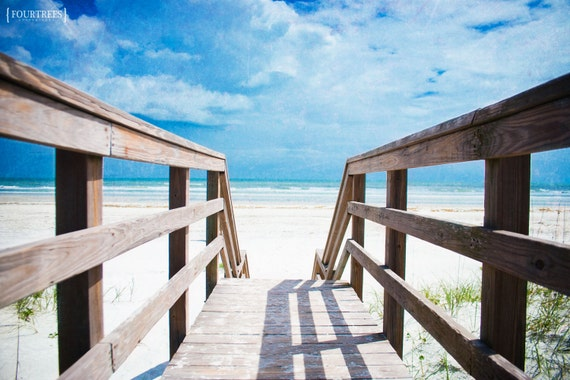 Alta Vista - 8x12 Beach summer dock photography print landscape photo white sand ocean sea water blue sky home nursery decor wall art