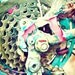 Mangled - 8x8 Bicycle bike photography print bright colorful room home decor wall art cycling enthusiasts teal green red turquoise hobby