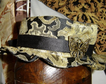 Steampunk Hat Mini Victorian Hat with Pewter Butterfly