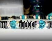 A9646- Hematite (Magnets) & Turquois Swarovski Crystals -- Set