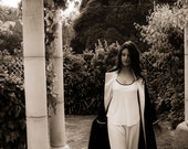 Silk Robe / Dressing Gown - Ebony & Ivory