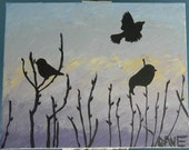Early Birds - Silhouette of Birds in the morning, 16inX20in