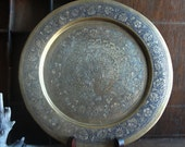 Vintage Brass Peacock Etched Metal Plate Wall Hanging
