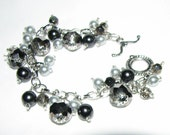 Black Hematite Gray Crystal & Pearls Charm Bracelet - Larger Wrist Sizes Available - FREE SHIPPING