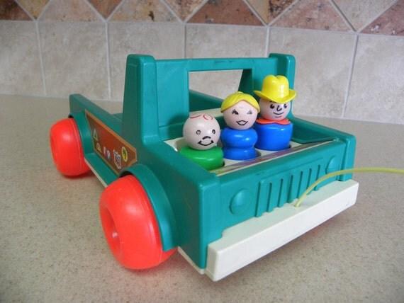 Vintage Fisher-Price Little People Truck & Three Little People