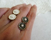 SALE filigree DAISY post earrings, stud earrings, simple metal earrings, minimal earrings - black or white