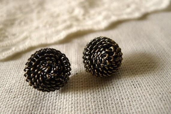filigree post earrings, stud earrings, metal earrings - pine cone