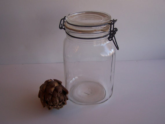 Vintage Canning Jar, Vintage Glass, Cottage Chic Glass Storage Jar, Made in Italy