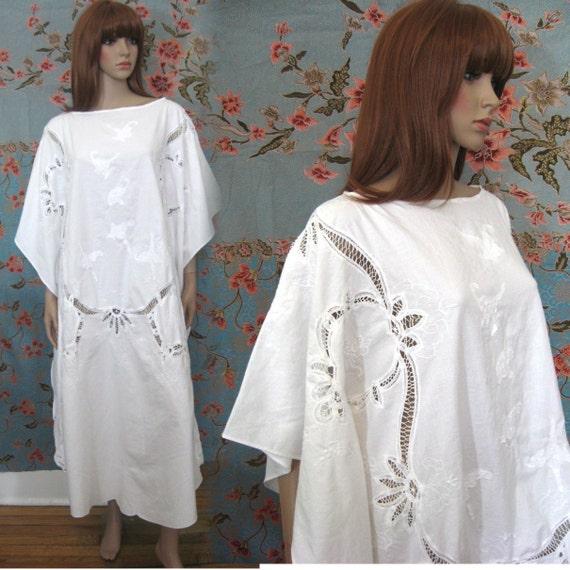 HIPPIE BOHO white embroidered oversized caftan maxi dress wedding OS