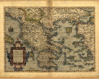 Map of Greece From 1500s Ancient Old World Cartography Exploring Sailing Vintage Digital Image Download 021