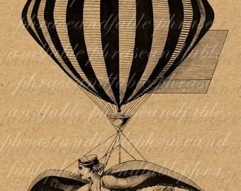 Flying Fella 053 Wings Steampunk Invention Dream Flight Hot Air Ballon Transportation Flying Digital Download Transfer Instant Art