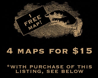 SALE Get Four Maps For Fifteen Dollars 062 Digital Image Downloads Clip Art Transfer Tshirt Vintage Antique Maps Cartography