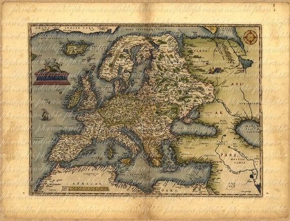Map of Europe From 1500s 081 Ancient Old World Cartography Digital Image Download Spain Italy Greece Abroad France Germany Antique