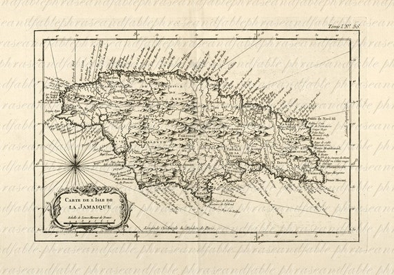 Map Of Jamaica From 1700s Ancient Old World Cartography: Old Map Of Jamaica At Infoasik.co