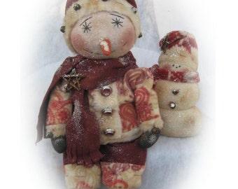 Primitive Sitting Snowman and His Little Snowman Friend Doll E-Pattern PDF