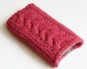 Hand Knit iPhone 4 case, smartphone case, mobile phone cozy, sock, cover, Berry Pink, iPhone 4s