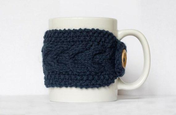 Knit Mug Cozy, Cup Cozy, Navy Blue Coffe Cup Sleeve, Mug Warmer
