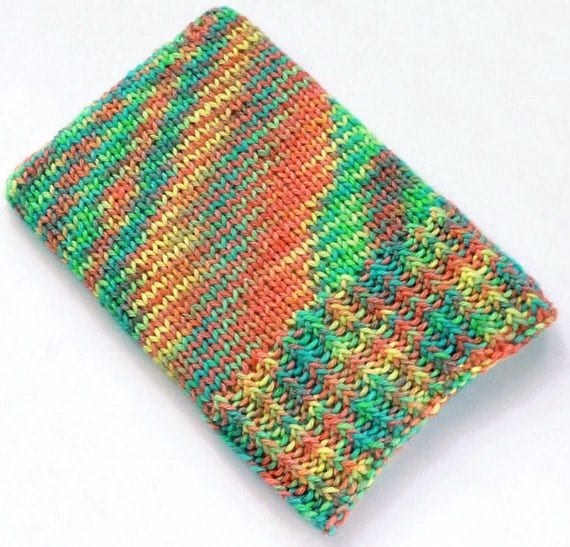 Knit Kindle Touch Case, Kindle 4 Cover, Kindle 5 Sleeve, Kindle Paperwhite Sock, Bright Multicolour Cozy