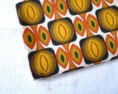 Vintage FRENCH RETRO FABRIC, Space age, Abstract Shapes in Mustard yellow, Brown, Black, and Orange on a Natural background.cotton/ linen.