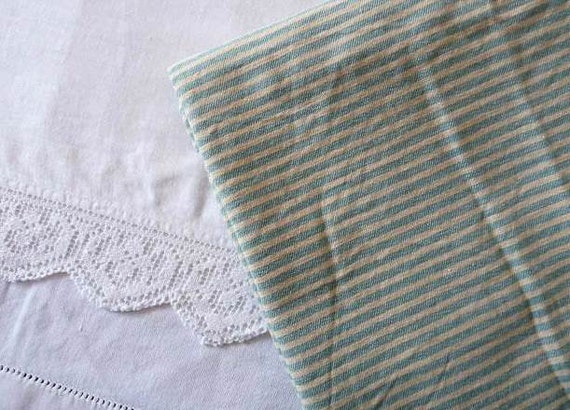 Vintage FRENCH TICKING FABRIC Striped, Green and Cream, cotton/ linen