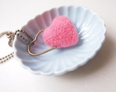 Reserved for Karen. Two hearts interlock pendant charm. Needle felted Pink wool heart interlocked with