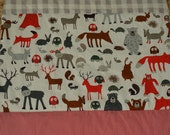 Modern Handmade Baby Bassinet Cot Quilt Travel Blanket Play Mat in Woodland Creatures