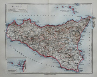 1897 Antique map of SICILY, ITALY. 119 years old chart