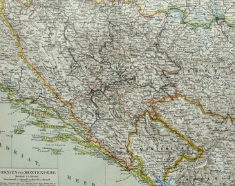 1897 Antique map of BOSNIA and MONTENEGRO. 119 years old chart.