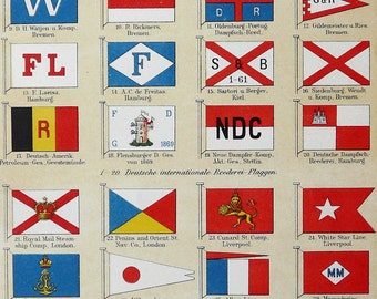 1897 Fine lithograph of antique SHIPPING COMPANY FLAGS. 119 years old nice print.