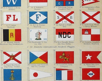 1894 Antique print of antique SHIPPING COMPANY FLAGS. Naval flags. 123 years old nice lithograph.