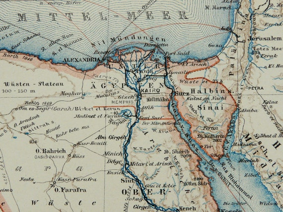 1897 Antique map of EGYPT, SUDAN, ERITREA. 115 years old map.