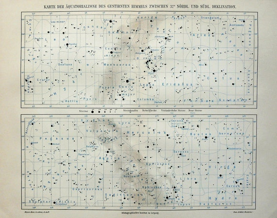 1897 Antique map of CONSTELLATIONS, STARS, Milky Way. 115 years old chart.