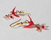 Origami Earrings Red Cranes 1 cm
