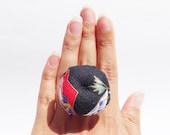 Pincushion Ring Black Washi Fabric