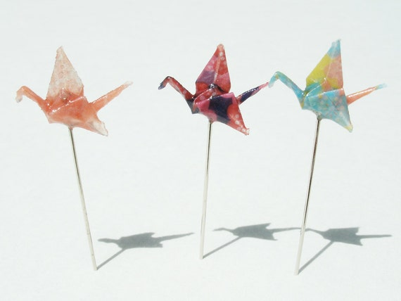 Origami Crane Decorative Pins Set of 3