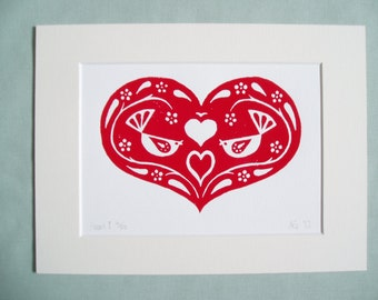 Print - 'Heart 1'.  Red on white block print of a decorative heart motif.