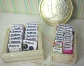 Miniature Dollhouse - two dollhouse haberdashery boxes with thread and buttons