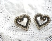 rhinestone heart-shaped vintage dress clips, vintage Valentine's Day