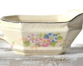 Vintage Shabby Chic Floral Gravy Boat by The Edwin M. Knowles China Company