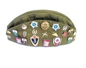 Khaki green pilotka army military hat cap with badges ussr soldier pentagon colorful